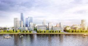 So könnte Hamburgs neuer Stadtteil Grasbook mit Blick von der HafenCity aussehen. (Foto: hfr)