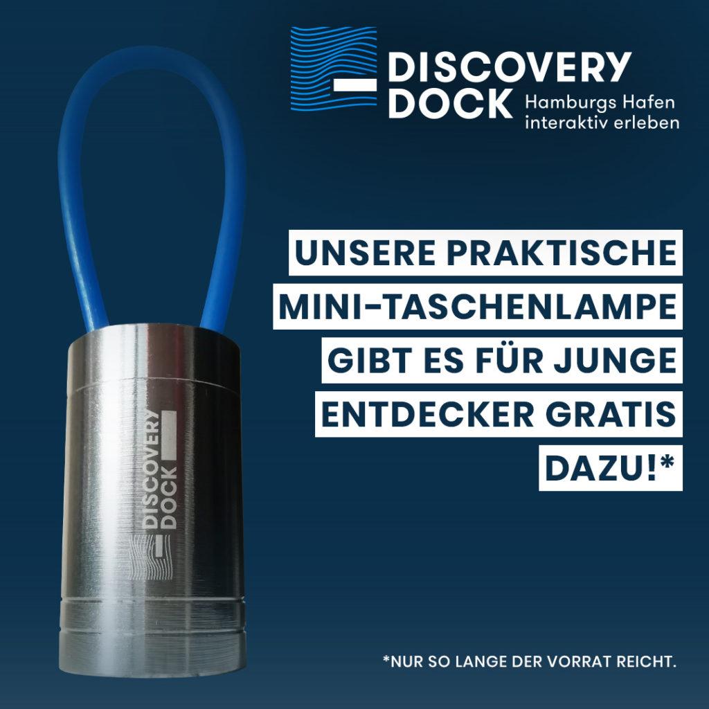 Discovery-Dock Hamburg: Eine praktische Mini-Taschenlampe gibt es für junge Entdecker gratis dazu.